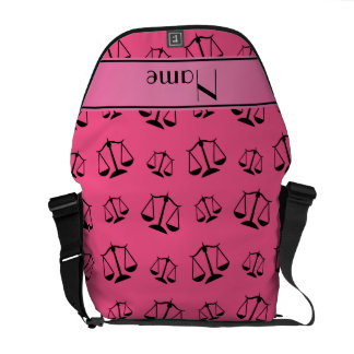 Personalized name pink justice scales courier bag