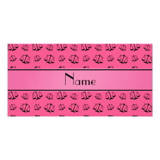 Personalized name pink justice scales photo card
