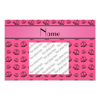 Personalized name pink justice scales photographic print
