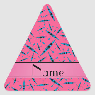 Personalized name pink kayaks triangle sticker