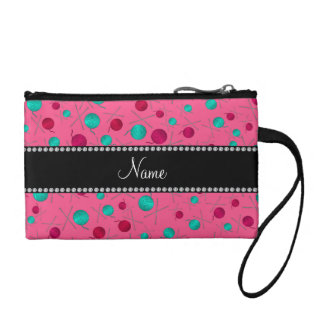 Personalized name pink knitting pattern coin wallets