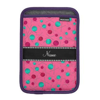 Personalized name pink knitting pattern iPad mini sleeves