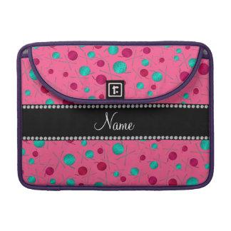 Personalized name pink knitting pattern MacBook pro sleeve