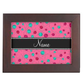 Personalized name pink knitting pattern keepsake box