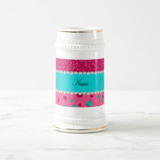Personalized name pink knitting rose pink glitter 18 oz beer stein
