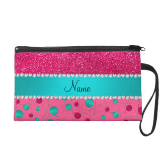 Personalized name pink knitting rose pink glitter wristlet clutch