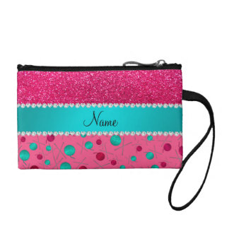 Personalized name pink knitting rose pink glitter coin wallets
