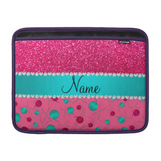 Personalized name pink knitting rose pink glitter MacBook air sleeves