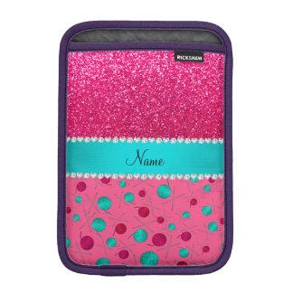 Personalized name pink knitting rose pink glitter iPad mini sleeve
