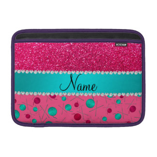 Personalized name pink knitting rose pink glitter sleeves for MacBook air