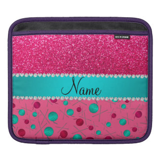 Personalized name pink knitting rose pink glitter sleeves for iPads