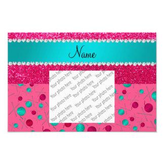 Personalized name pink knitting rose pink glitter photo print