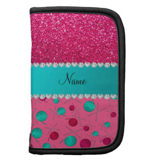 Personalized name pink knitting rose pink glitter folio planner