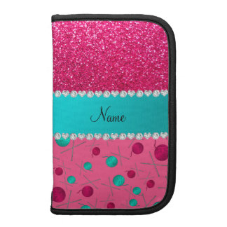 Personalized name pink knitting rose pink glitter organizers