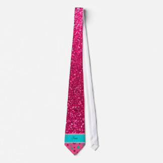 Personalized name pink knitting rose pink glitter tie