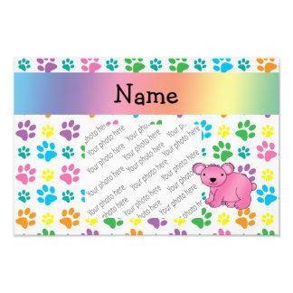 Personalized name pink koala rainbow paws photo art