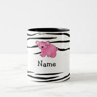 Personalized name pink koala zebra stripes Two-Tone coffee mug