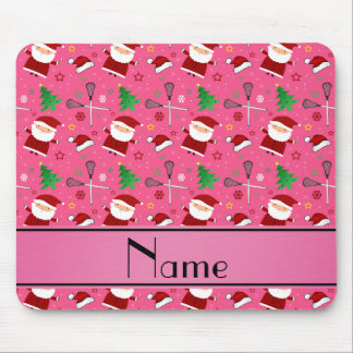 Personalized name pink lacrosse christmas pattern mousepads