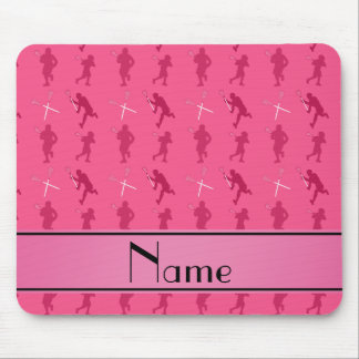 Personalized name pink lacrosse silhouettes mouse pad