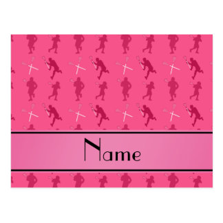 Personalized name pink lacrosse silhouettes postcard