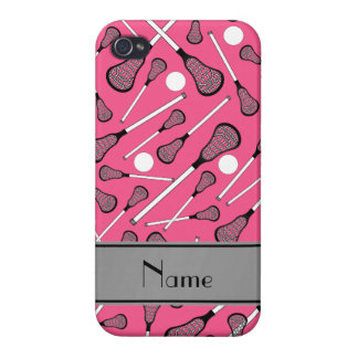 Personalized name pink lacrosse sticks grey stripe iPhone 4 covers