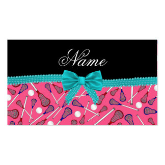 Personalized name pink lacrosse turquoise bow business cards