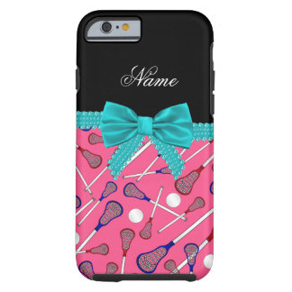 Personalized name pink lacrosse turquoise bow tough iPhone 6 case
