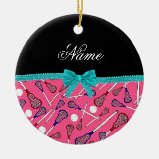 Personalized name pink lacrosse turquoise bow ceramic ornament