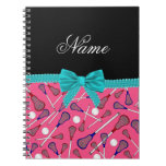 Personalized name pink lacrosse turquoise bow notebook