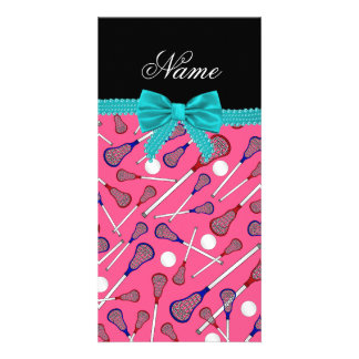 Personalized name pink lacrosse turquoise bow photo card template
