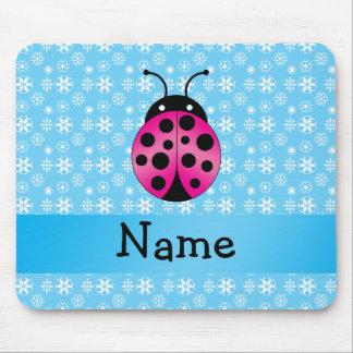 Personalized name pink ladybug blue snowflakes mousepads