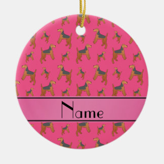 Personalized name pink Lakeland Terrier dogs Ceramic Ornament