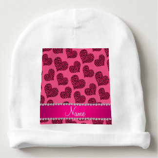 Personalized name pink leopard hearts baby beanie