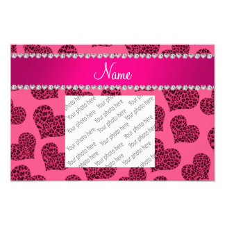Personalized name pink leopard hearts photo print