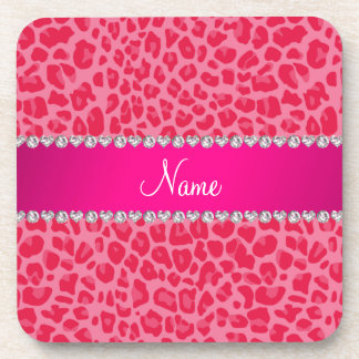 Personalized name pink leopard pattern drink coaster
