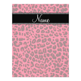 Personalized name pink leopard pattern custom flyer