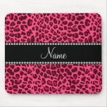 Personalized name pink leopard pattern mouse pads