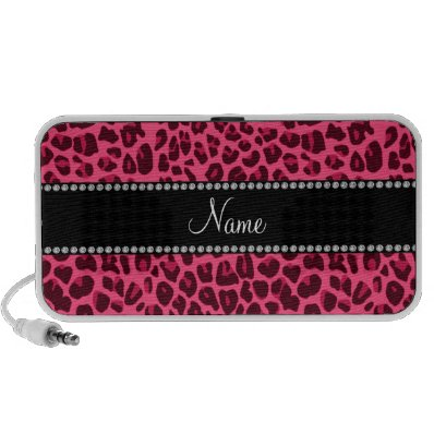 Personalized name pink leopard pattern mp3 speaker
