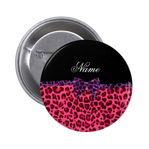 Personalized name pink leopard pattern purple bow buttons