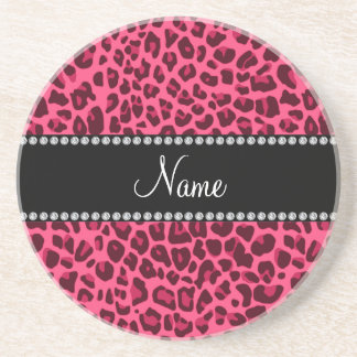 Personalized name pink leopard pattern sandstone coaster