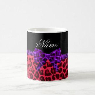 Personalized name pink leopard print purple bow mug