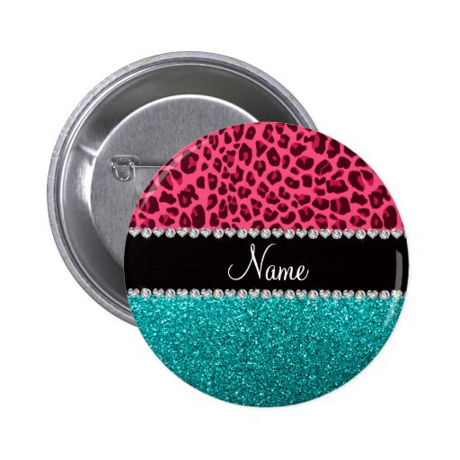 Personalized name pink leopard turquoise glitter 2 inch round button
