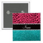Personalized name pink leopard turquoise glitter pins