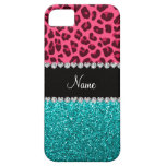 Personalized name pink leopard turquoise glitter iPhone 5 case