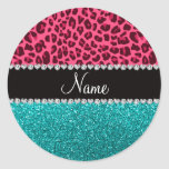 Personalized name pink leopard turquoise glitter classic round sticker