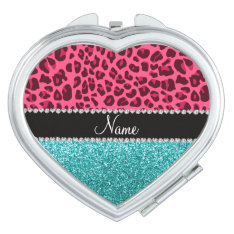 Personalized Name Pink Leopard Turquoise Glitter Compact Mirror at Zazzle