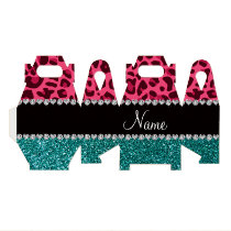 Personalized name pink leopard turquoise glitter favor box
