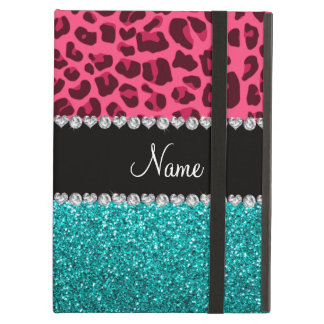 Personalized name pink leopard turquoise glitter iPad air case