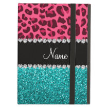 Personalized name pink leopard turquoise glitter iPad air covers