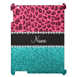 Personalized name pink leopard turquoise glitter case for the iPad 2 3 4
